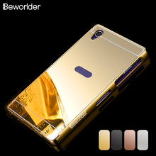 SONY Z1 Case Gold Plating Armor Aluminum Metal Frame + Mirror Acrylic Back Cover Phone Sony Xperia L39h C6903 - Beworlder Official Store store