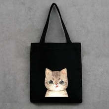 Canvas Hangbag Women Lovely Cartoon Cat Shoulder Bags Black White Eco Friendly Shopping Bags Female Daily Tote Beach Bag(China)