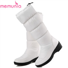 MEMUNIA NEW 2018 fashion warm knee high snow boots women round toe soft leather warm down winter thick fur ladies winter shoes(China)
