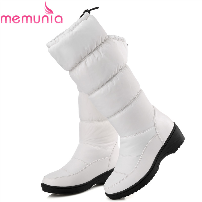 MEMUNIA NEW 2018 fashion warm knee high snow boots women round toe soft leather warm down winter thick fur ladies winter shoes<br>