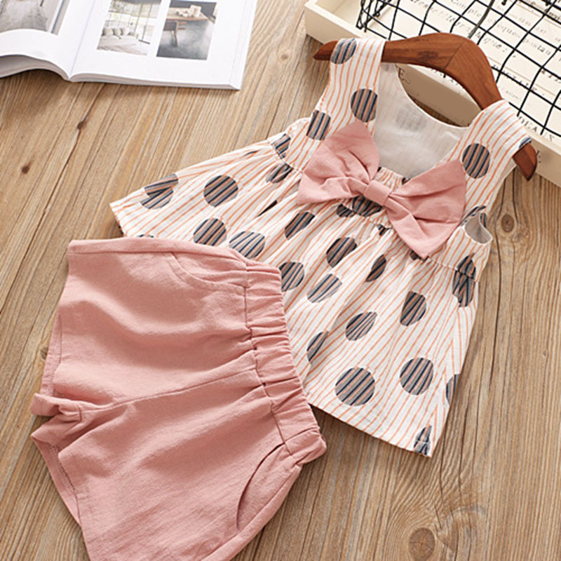 summer kids girls clothing sets sleeveless dot tops with big bow+shorts 2019 kid clothes toddler outfits children pink yellow