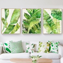 Tropical Leaves Canvas Mural Painting Nordic White Based Green Plant Wall Poster Creative Art Drawing for Office Shop Home Decor