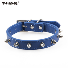 T-MENG Rivet Spiked Studded PU Leather Dog Collars For Puppy Small Pets Punk Style Leather Neck Strap Belt Goods For Pet Product(China)