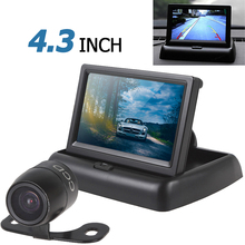 4.3 Inch Auto Car Parking Rear View Monitor 2CH Video Input + Waterproof 420TVL 18mm Lens Reverse Backup Rearview Camera(China)
