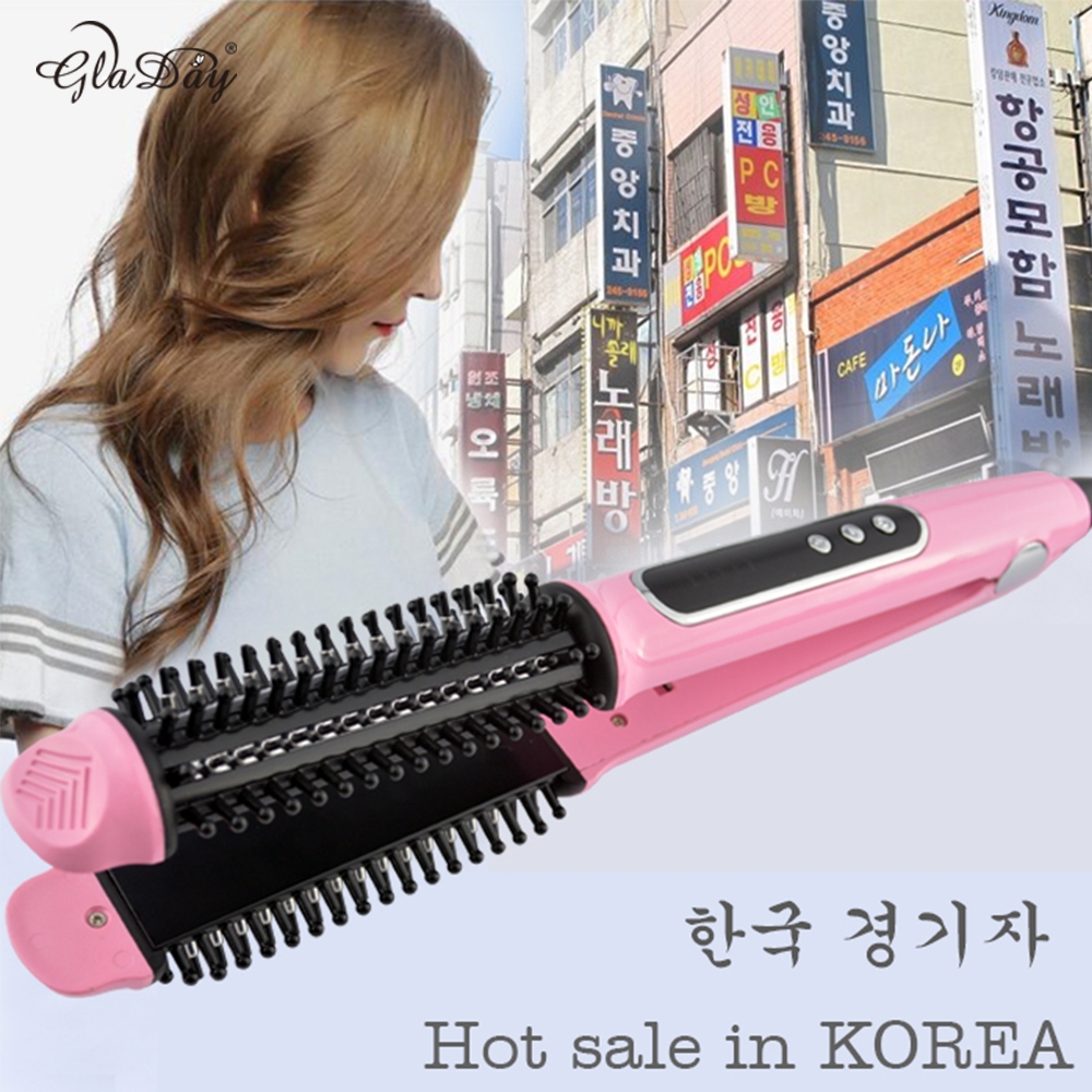 2 in 1 HAIR Straightener and Hair curling Iron.Universal voltage.With lock system.With prevent scalding comb.Hair Iron comb<br>