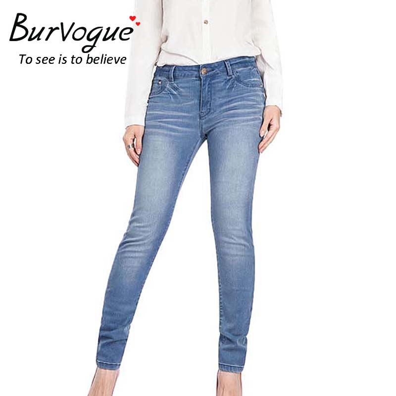 Burvogue Women 2017  Mid Waist Ankle Length Pants Summer Jeans Pants Plus Size Skinny Jeans Ripped Jeans for WomenОдежда и ак�е��уары<br><br><br>Aliexpress