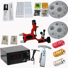 2017 Pro Complete Tattoo Machine Kit Set 1Pcs Dragonfly Rotary Tattoo Machine Gun Power Supply Needles Grips Tips Footswitch