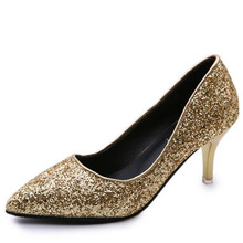 sexy women pumps shoes Metallic Glitter Bridal Wedding Shoes Pointed Toe High Heels ladies party dress Gold Heels Women Shoes(China)