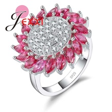 JEXXI Fascinating Clear AAA+ Zircon Sunflower Ring Women Red/White Color Crystal Finger Ring 925 Sterling Silver Jewelry