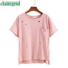 CHAMSGEND Good Deal New Summer Women Loose Short Sleeve Casual T Shirt Hole Solid 1pc_U00442