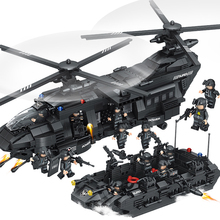 1351pcs Large Building Blocks Sets SWAT Team Transport Helicopter Compatible Legoed SWAT City Police Gift Toys for Children Kids(China)