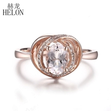 HELON Solid 10K Rose Gold Oval 7x5mm Pink Morganite Diamonds Ring  Antique Fine Gemstone diamonds Anniversary Wedding Fine Ring