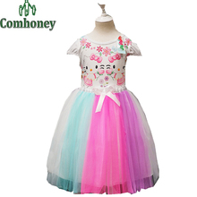 Hello Kitty Dress for Girls Rainbow Baby Girls Tutu Dress Minnie Mouse Princess Party Ball Gown Snow Queen Toddler Kids Clothes