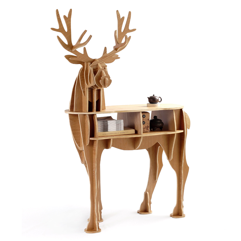 Christmas deer table European DIY crafts home decoration elk variable direction wooden gifts puzzle bookcase furniture ornament(China (Mainland))