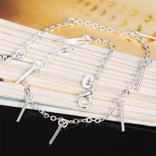 New Arrival ankle bracelet Sterling 925 Silver Anklets,925 Silver Fashion Jewelry,Silver tube pendant For Women