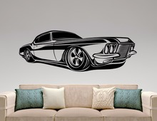Muscle Car Sticker Classic Car Decal Home Interior Design Garage Decor Boys Room Wall Art Murals Waterproof Stickers Vinyl A773(China)