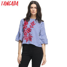 Tangada Summer Floral Embroidery Blouses Shirts Women Clothing Female Blue Plaid Butterfly Sleeve Pattern Tops Korean Fashion(China)
