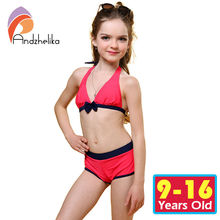 Andzhelika Swimsuit for girls 2017 Summer Girls Bikini Cute Bow Children Swimwear Children Girl Swimming Suit Kid Bathing Suit(China)