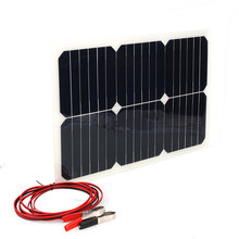 18V 20W Portable Solar Power Panel Car Battery Bank Charger W/Alligator Clip