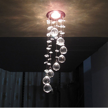Simple stainless steel crystal chandelier LED k9 crystal chandeliers bedroom living room dining Aisle chandelier 3W AC110-260V
