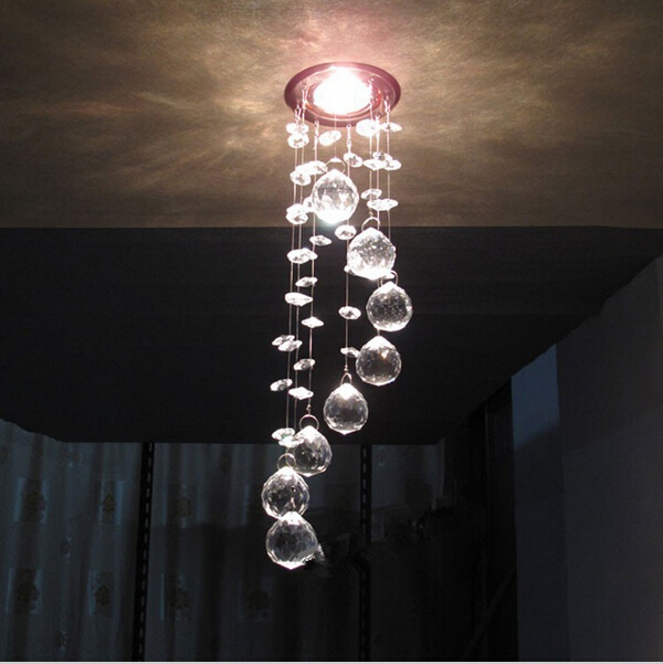 Simple stainless steel crystal chandelier LED k9 crystal chandeliers bedroom living room dining Aisle chandelier 3W AC110-260V(China (Mainland))