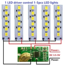 5x DC 3.7V 5V 1.2W White LED light & 1x 3.5-5V 2A Touch Switch LED Driver Controller for USB mobile power 18650 lithium battery(China)