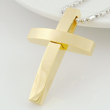 GOKADIMA New Trendy Polished Cross Pendant Necklace Mens Stainless Steel Jewelry, 3 colors Jewellery Fashion 2017 WP863