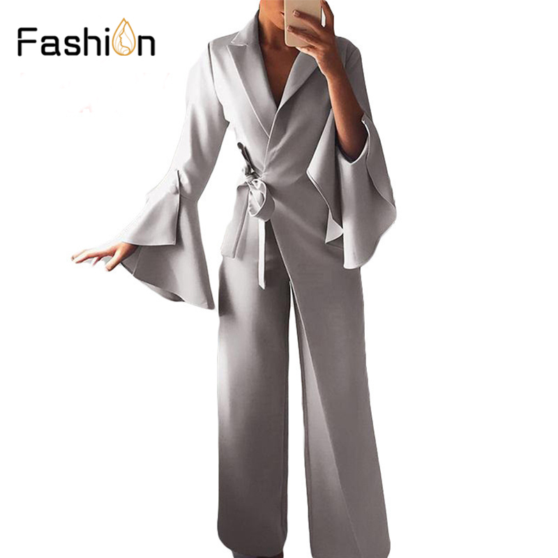 Women Waist Belted Jumpsuit Long Sleeve Rompers Wide Leg Pants Highstreet Ladies Autumn Elegant Workwear Jumpsuits Harajuku