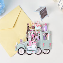 Handmade Flower Car Vehicle Valentines' Day Birthday Easter Gifts Invitations Cards Kirigami Origami 3D Pop Up Greeting Cards(China)