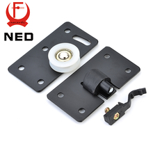 NED-7207 Black Cold Rolled Steel Sliding Door Wheel Cabinet Nylon Concave  Wheels Hanging Wheel Parts Door Rollers Door Hardware