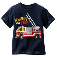Fire engine Rescue Boys T-Shirts Fire truck Baby Boys Clothes Short Sleeved Tee Shirts Children Clothing Shirt Tops