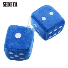 Pair Blue Fuzzy Plush Dice Dots Rear Mirror Hangers Vintage Car Auto Accessories*Rear View Mirror Car Decoration(China)