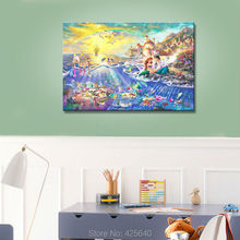 Framed Thomas Kinkade Oil Paintings Character Little Mermaid Art Decor Painting Print Giclee Art Print On Canvas(China)