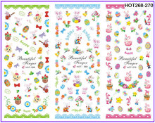 3 PACKS / LOT CARTOON EASTER EGG RABBIT NAIL TATTOOS STICKER WATER DECAL NAIL ART HOT268-270