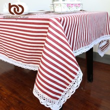 BeddingOutlet Red And White Striped Tablecloth Cotton Linen Dinner Stripe Table Cloth Macrame Decoration Lacy Table Cover 9 Size