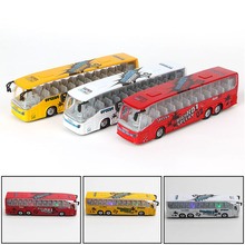 Kids Toy Alloy Bus Model Pull Back Action Openable Door Sound Light Vehicle Gift New Yellow, White, Red