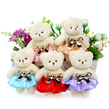Lovely Cute Hat Baby Girl Teddy Bear Mini Model Bow Design Plush Toys For Wedding Party Home Decoration Toys(China)