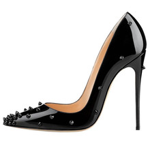 Extreme Thin Heel Shoes Woman High Heels Pumps Black Shoes Woman Sexy Pointed Toe High Heels Rivets Shoes Women Pumps Big size