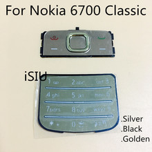 iSIU For Nokia 6700 Classic Housing Keypad Mobile Phone 6700C Keyboard Replacement Golden Silver Black Russian Keypad New