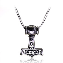 rongji jewelry Weight 45g Viking Anchor Men talisman long Necklace Thor Hammer Horde Symbol Pendants Factory outlet