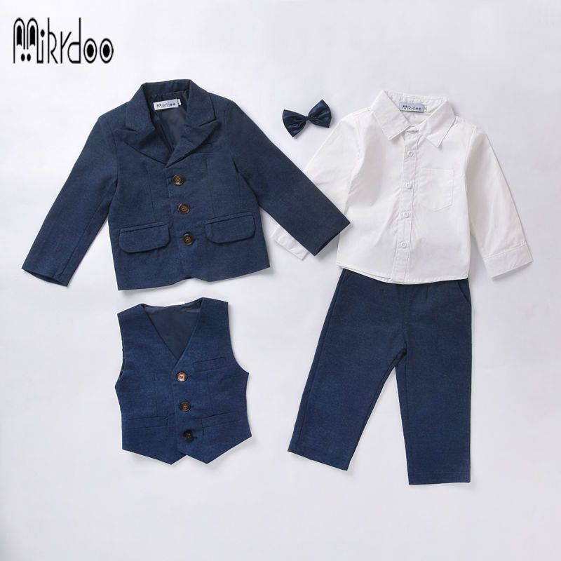 Baby boy clothes blazers tuexdo terno formal gentleman suit infant coat shirt vest pants wedding clothing set children costume<br><br>Aliexpress