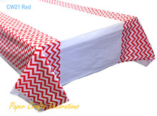 "108*180cm (70"" * 43"") Red Chevron Rectangle Plastic Tablecloths Table Cover Wedding Kids Party Decorations"