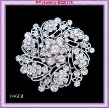 Wholesale price!!(60pc/lot)Silver tone clear crystal rhinestone Nice flower Pin brooches for wedding invitation,party,gift.etc