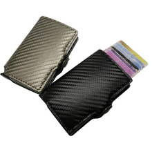 Antitheft mini wallet high quality carbon pu leather wallets slim men  leather rfid mini wallet automatic credit card case