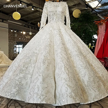 LS21047 new real bridal gown 100% real original design OEM accepted long sleeves mariage off shoulder off white wedding dress(China)