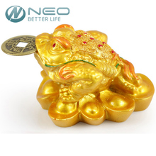 NEO Resin Three Legged Chinese Lucky Money Toad Figurine Frog Statue with Fortune Coin Feng Shui Home Ornaments Bring Wealth