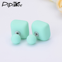 2017 New Matte Square Ball Double Pearl Earrings Female Brand Summer Jewelry Two Side Fashion Cheap Stud Earrings For Women