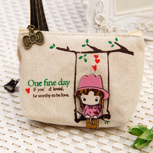 Lovely Cute Cartoon Wallet Pouch Card Purse Zip Key Holder Case Mini Canvas Bags Canvas Cute Adorable Swing Girl Coin Bag