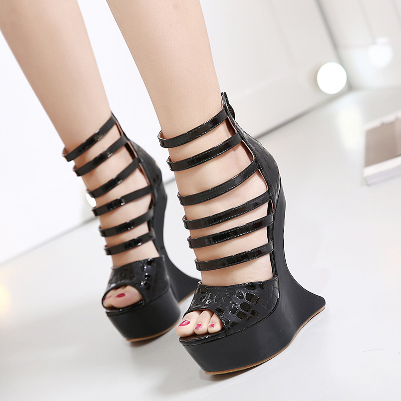 Catching Black Red Soft Leather Women Pump Wedge High Heels Thick Platforms Peep Toe Ankle Wrapped Shoes Women Open Toe Heels<br>
