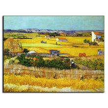 1 Pcs Gold Oil Art Canvas Painting Landscape paintings Kitchen Impression The harvest fields Wall Picture for Home Decor